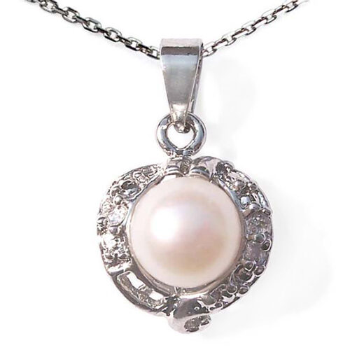 White 7mm Pearl Pendant with 925 sterling silver Chain