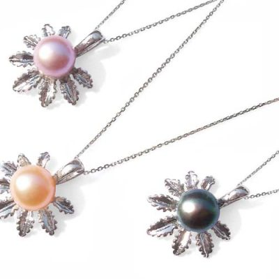 Mauve, Pink and Black 8mm Freshwater Pearl with Palm Leaf Designer Pendant, 16in Silver Chain