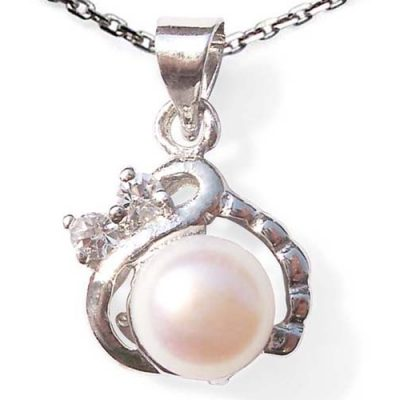 7-8mm White, Pink, Mauve and Black Pearl Pendant with 2 Cz Diamonds, 16in Silver Chain