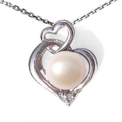 white 8mm Pearl Pendant in double heart design,Free Silver Chain