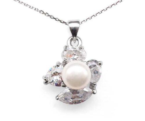 White 7-8mm Irregular Designer Pearl Pendant Surrounded by 4 Cz Diamonds
