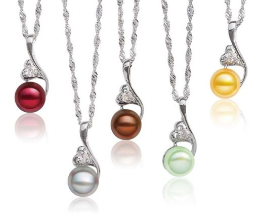 Cranberry, Grey, Chocolate, Light Green and Gold 8-9mm Pearl Pendant and Heart in Hand Design, 925 SS Chain