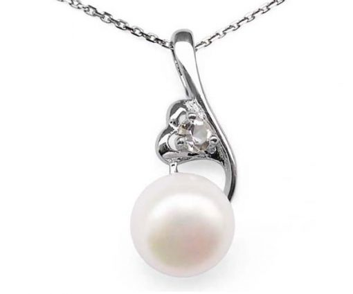 White 8-9mm Pearl Pendant and Heart in Hand Design, 925 SS Chain