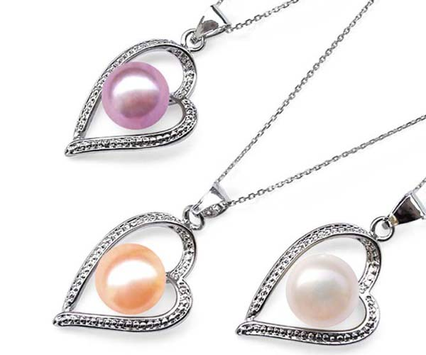 Pink, Mauve and White 9-10mm Pearl in Artform Styled Heart Pendant, 16in Silver Chain, 18K WG Overlay