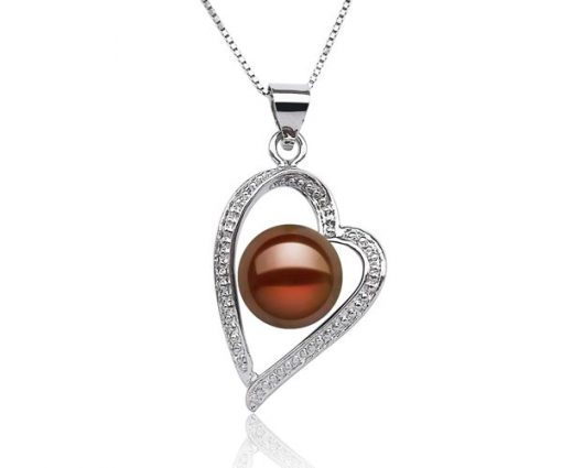 Chocolate 9-10mm Pearl in Artform Styled Heart Pendant, 16in Silver Chain, 18K WG Overlay