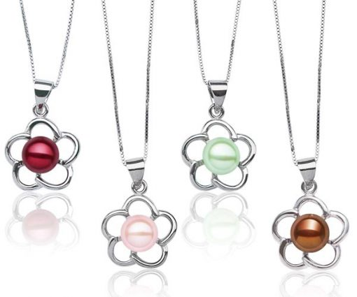 Cranberry, Baby Pink, Light Green and Chocolate 8-9mm Pearl Pendant in Flower Design, 16in Silver Chain