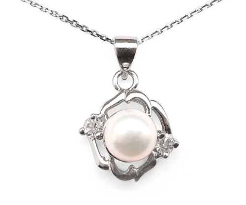 White 7-8mm Symmetrical Pearl Pendant with Two Cz Diamonds, 16inch Silver Chain