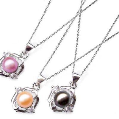 Pink, Mauve and Black 7-8mm Symmetrical Pearl Pendant with Two Cz Diamonds, 16inch Silver Chain