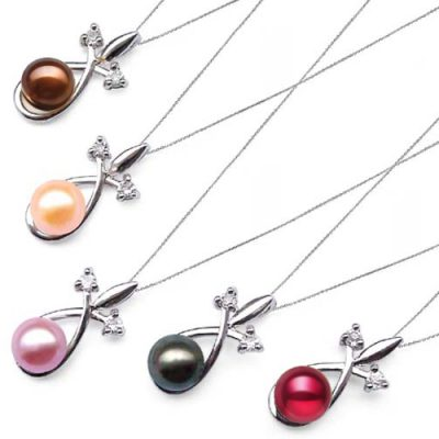 Chocolate, Pink, Mauve, Black and Cranberry 7-8mm Pearl Pendant with Cz Diamonds