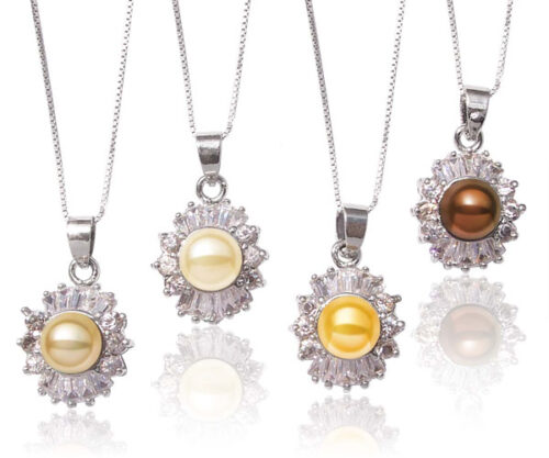 Dark Golden Rod, Champagne, Gold, Chocolate 7-8mm Pearl Pendant with 16 Translucent CZ Diamonds
