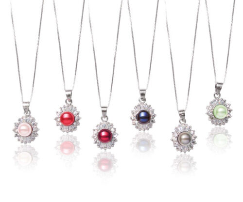 Baby Pink, Red, Cranberry, Navy Blue, Grey and Light Green 7-8mm Pearl Pendant with 16 Translucent CZ Diamonds