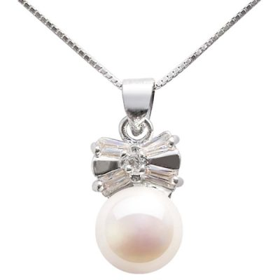 White 9-10mm Bowknot Designer Pearl Pendant, 16in