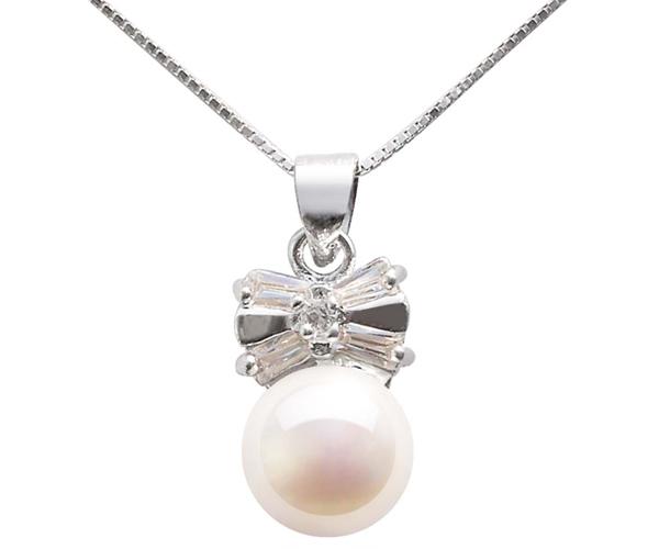 White 9-10mm Bowknot Designer Pearl Pendant, 16in