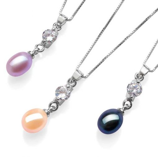Mauve, Pink and Black 7-8mm Drop Pearl Pendant, 16in Silver Chain