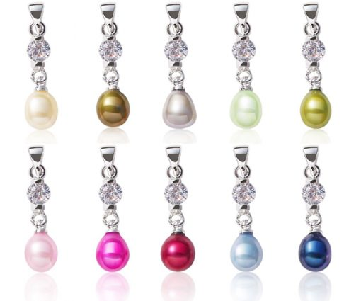 Champagne, Dark Golden Rod, Grey, Light Green, Olive Green, Baby Pink, Hot Pink, Cranberry, Royal Blue and Navy Blue 7-8mm Drop Pearl Pendant, 16in Silver Chain