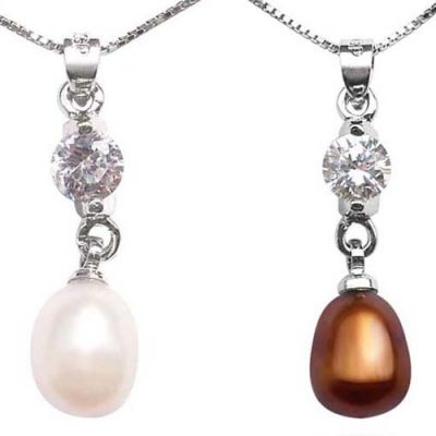 White and Chocolate 7-8mm Drop Pearl Pendant, 16in Silver Chain