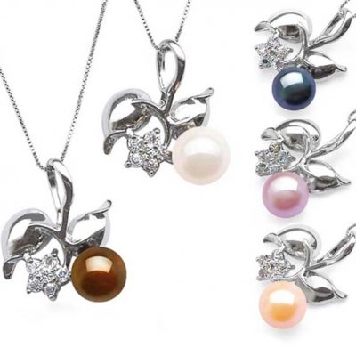 Chocolate, White, Black, Mauve and Pink 9-10mm Cherry Shaped Pearl Pendant, Free 16in Silver Chain