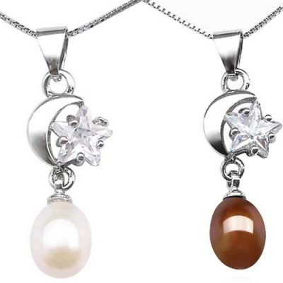 White and Chocolate 7-8mm Drop Pearl Pendant in Moon and Star Design, 16in Silver Chain, 18K WG Overlay