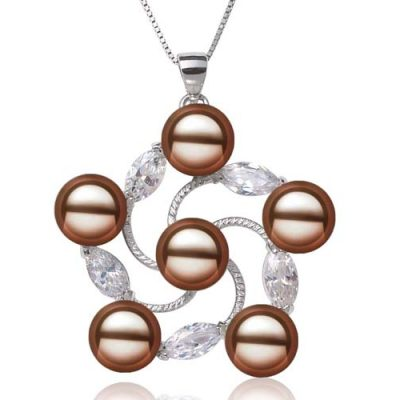 Chocolate 8-9mm Pearls in Flower Shaped Pendant, 16in Silver Chain