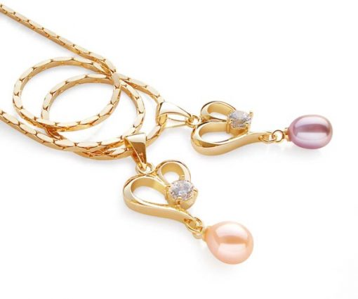 Pink and Lavender Heart Shaped Pearl Pendant with a Round Cz Diamond, Free Chain