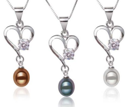 Chocolate, Black and Grey Heart Shaped Pearl Pendant with a Round Cz Diamond, Free Chain