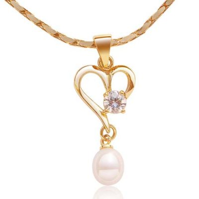 White Heart Shaped Pearl Pendant with a Round Cz Diamond, Free Chain
