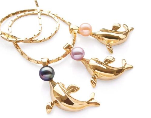 Black, Mauve and Pink 6-7mm Pearl and Dolphin Shaped Pearl Pendant, 18K YG, Free Chain