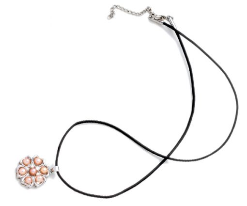 Pink 4-5mm Pearl Six-Heart Pendant, 18K WG Overlay, Free Leather Cord