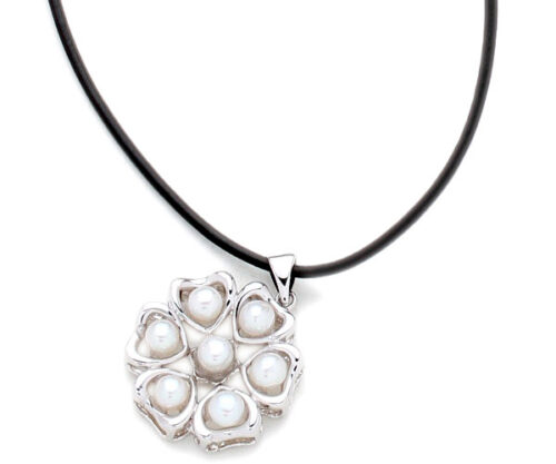 White 4-5mm Pearl Six-Heart Pendant, 18K WG Overlay, Free Leather Cord