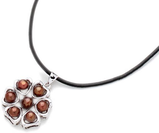 Chocolate 4-5mm Pearl Six-Heart Pendant, 18K WG Overlay, Free Leather Cord