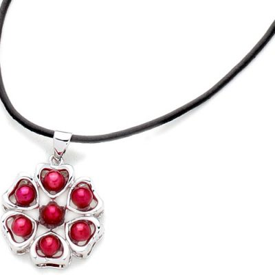Cranberry 4-5mm Pearl Six-Heart Pendant, 18K WG Overlay, Free Leather Cord