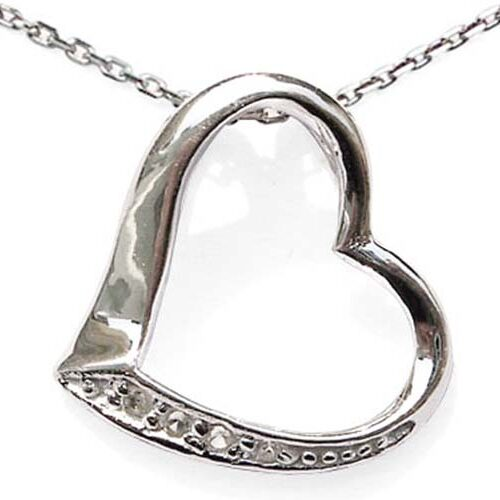 Heart Silver Pendant with Translucent Cz Diamonds, 16in or 18in Chain