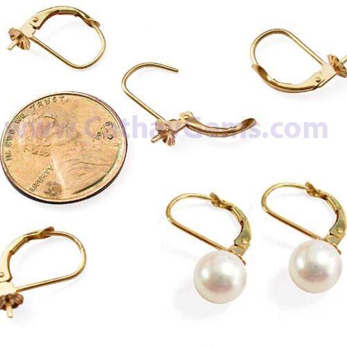 14K Yellow Gold Leverback Pearl Earrings Setting