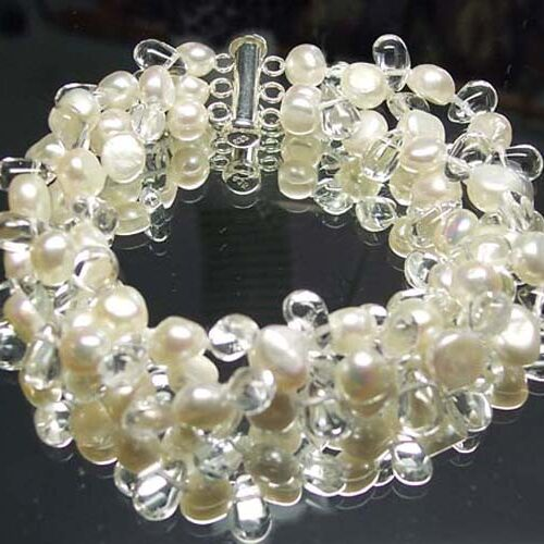 White 3 Row Freshwater Pearls and Crystal Bracelet, 925 SS