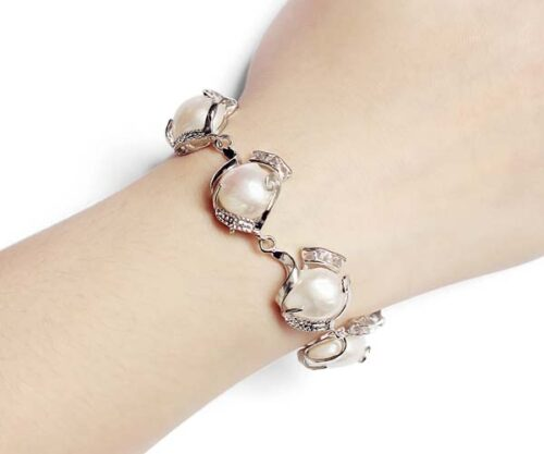White Large Six Pieces of Baroque Pearl Bracelet, Adjustable Length