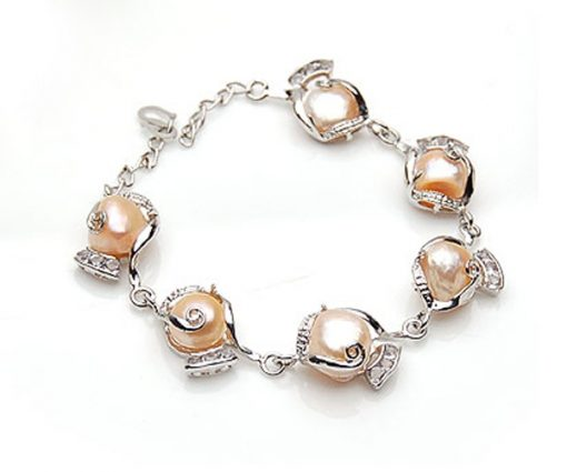 Pink Large Six Pieces of Baroque Pearl Bracelet, Adjustable Length