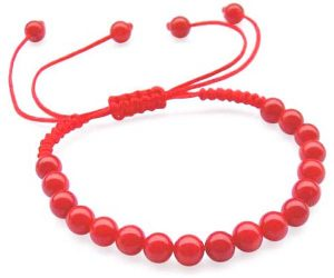 Child Jewelry- Red 6mm Coral Bracelet at Flexible Length from 5in to 6in
