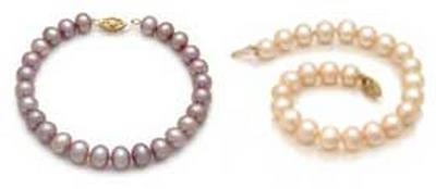 Lavender and Pink 8.5 - 9.5mm Large AA Quality Pearl Bracelet in 14K YG Clasp