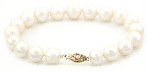 White 8.5 - 9.5mm Large AA Quality Pearl Bracelet in 14K YG Clasp