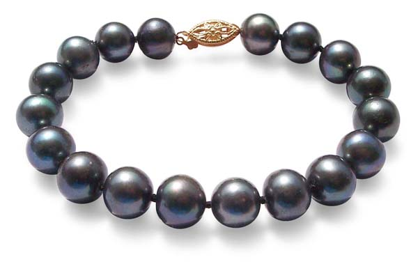 Black 8.5 - 9.5mm Large AA Quality Pearl Bracelet in 14K YG Clasp