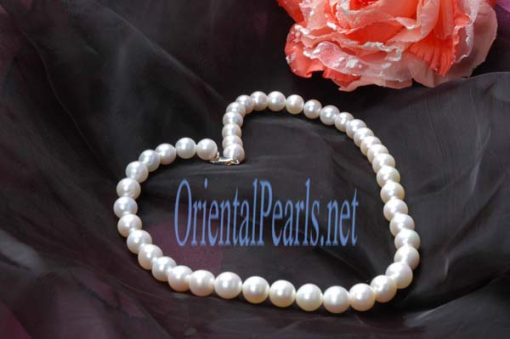 White 6-7mm Round Pearl Bracelet, 925 SS Clasp