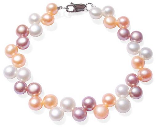 Pink/Mauve/White 6-7mm High Quality Pearl Bracelet in SS