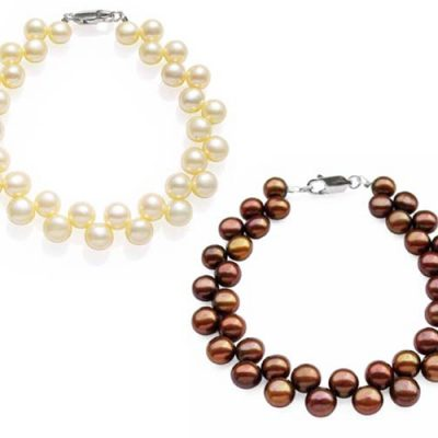 Cream White and Chocolate 6-7mm High Quality Pearl Bracelet in SS