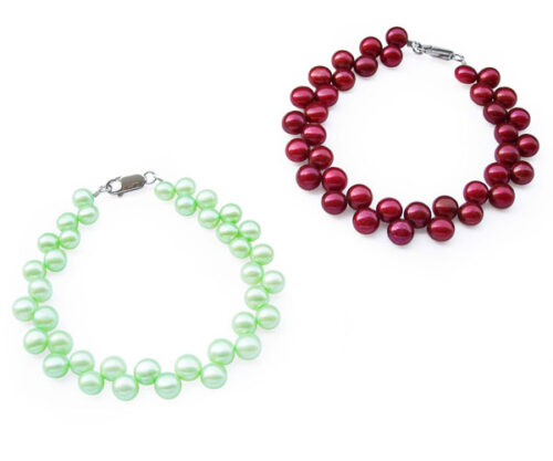 Light Green and Cranberry 6-7mm High Quality Pearl Bracelet in SS