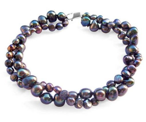 Black 3.4-4mm or 5.5-7mm, 2 Rows Blue Baroque Pearls