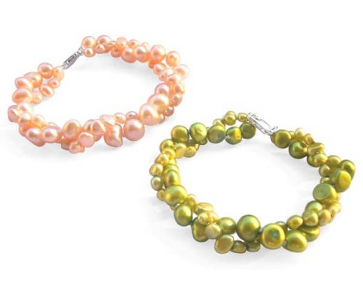 Pink and Olive Green 3.4-4mm or 5.5-7mm, 2 Rows Blue Baroque Pearls