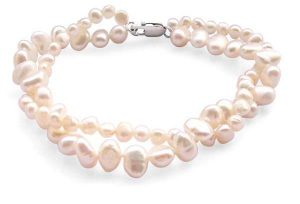 White 3.4-4mm or 5.5-7mm, 2 Rows Blue Baroque Pearls