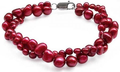 Cranberry 3.4-4mm or 5.5-7mm, 2 Rows Blue Baroque Pearls