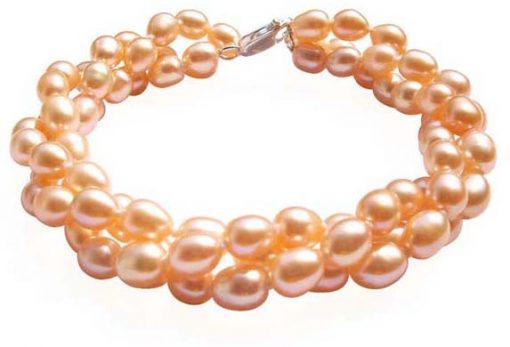 Pink Multi-strand Three Rows Rice Pearl Bracelets, 925 Sterling Silver
