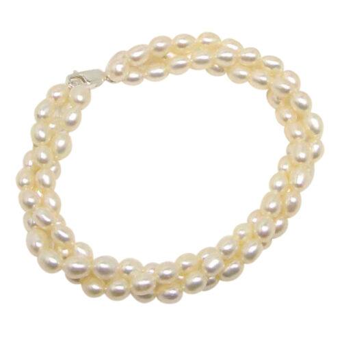 Multi-strand white Rice Pearl Bracelet